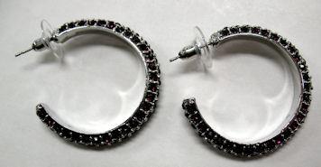 Earrings (Silver Hoop with Purple Rhinestones)