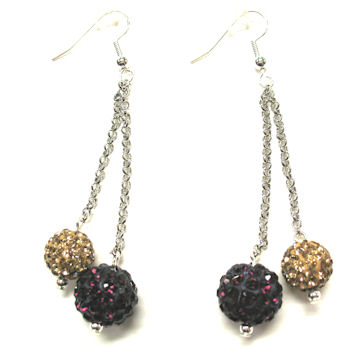 Earrings (Dangling, Rhinestone Balls)