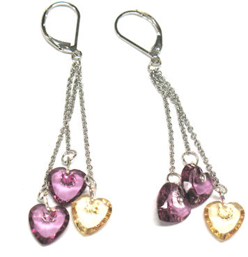 Earrings (Dangling, Hearts)
