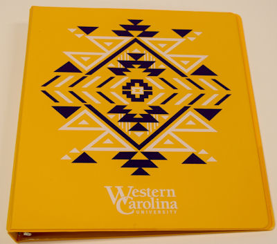 "Binder 1"" Yellow Aztec ""Western Carolina University"""