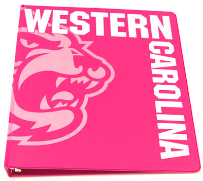 "Binder 1"" Bubblegum (Pink) w/ Cat & ""Western Carolina"""