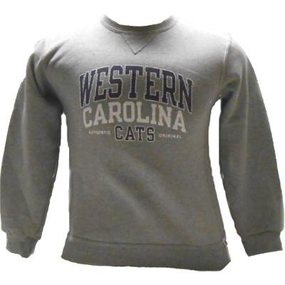 Youth Crew Sweatshirt --- Grey / Western Carolina Cats