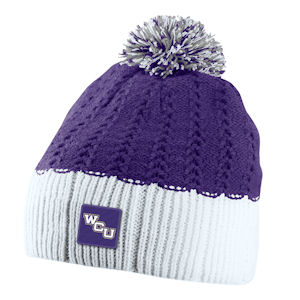 Image For Beanie/Toboggan (White & Purple with Pom, Nike)