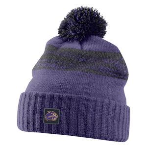 Image For Beanie/Toboggan (Purple/Black with Pom, Nike)