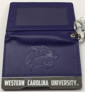 Image For ID Holder (Purple Leather w/ Silver Bar, W.C.U./Cat)