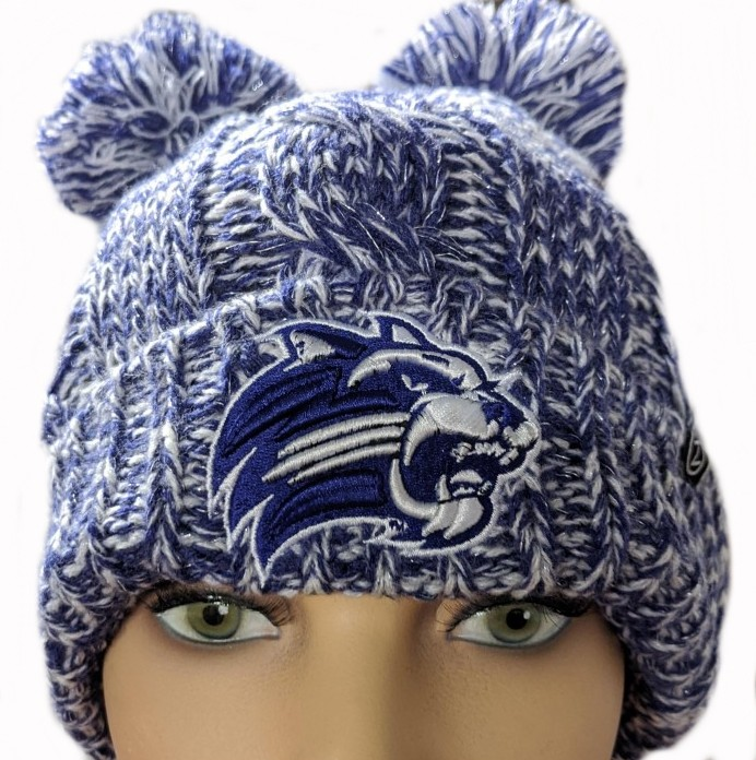 Cover Image For Beanie (Purple/White, 2 Poms, Cathead, Zephyr)