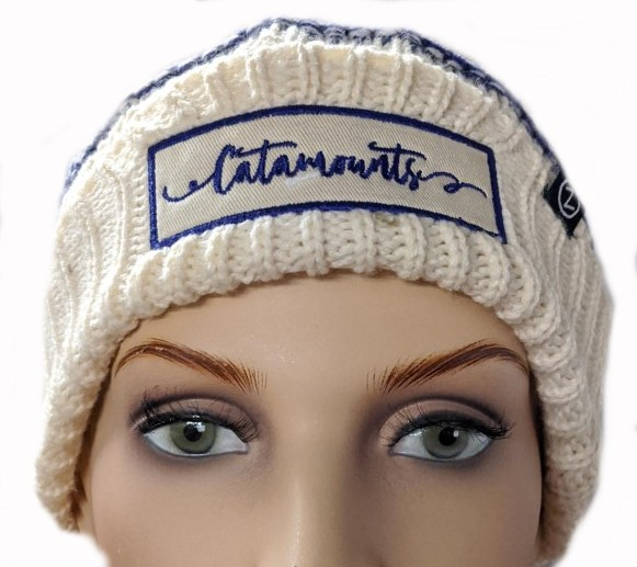 Image For Beanie (Cream/Purple/White, Catamounts in Script, Zephyr)
