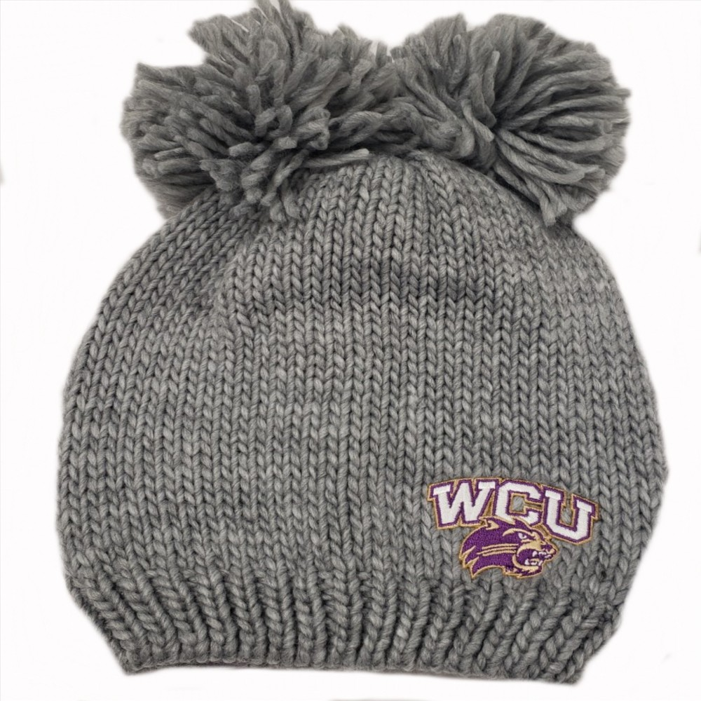 Image For Beanie (Grey, WCU/Cat, 2 Poms, Logofit)