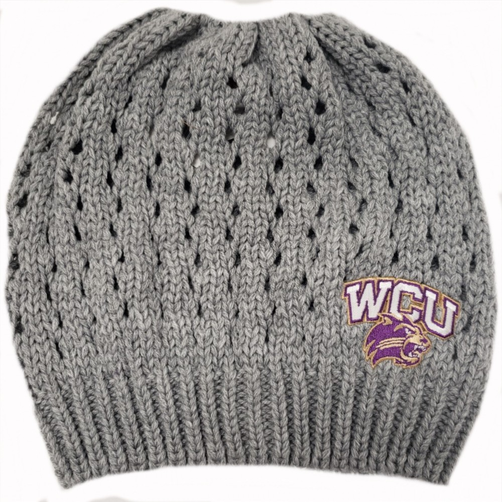 Image For Beanie (Grey Knit, WCU/Cat, Bun (No Poms), Logofit)