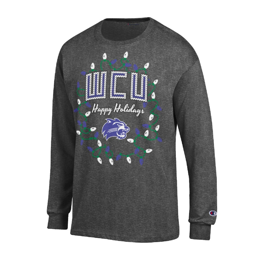 "Cover Image For An ""Ugly Sweater"" Long-Sleeve T-Shirt (Dark Grey, Champion)"