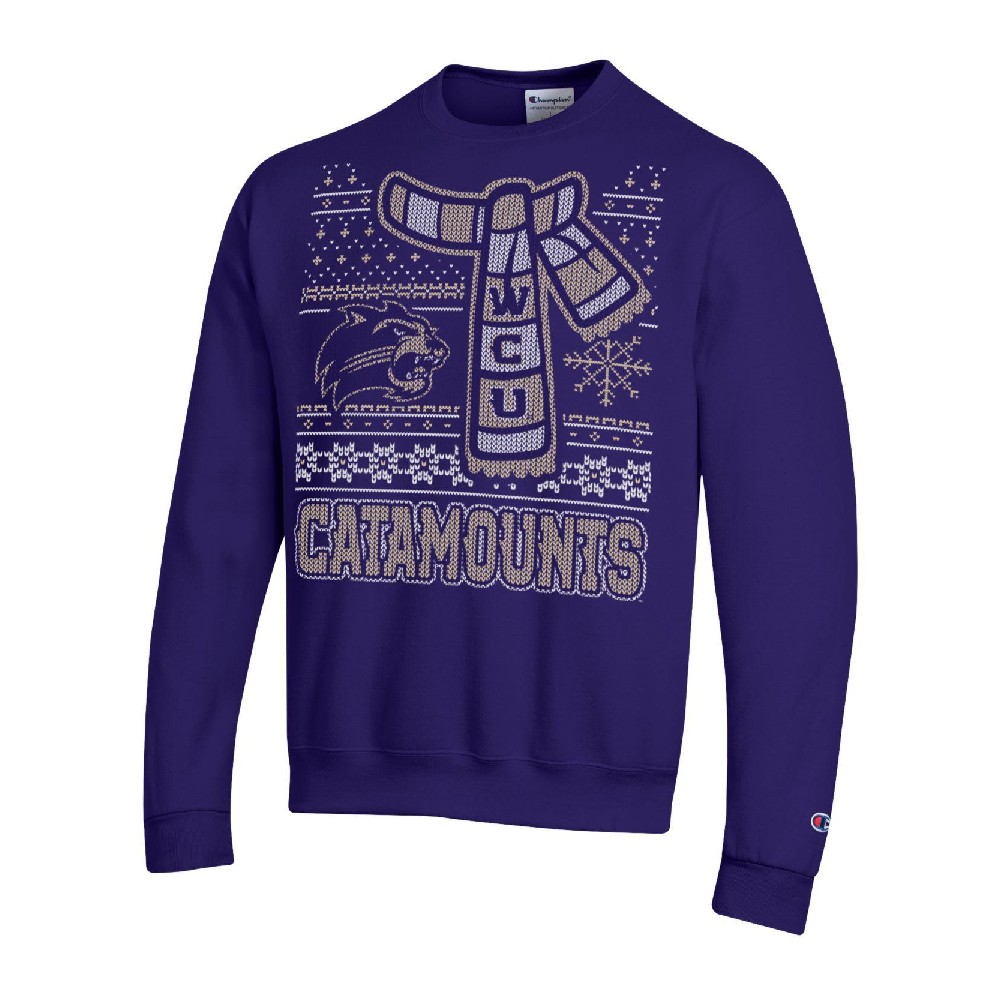 "Image For An ""Ugly Sweater"" Crew Sweatshirt (Purple, Champion)"
